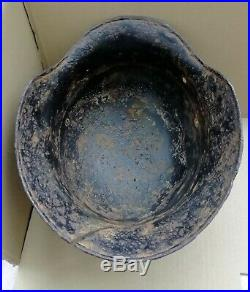 WW2 German Helmet M40 64 Combat damage Original Wehrmacht Dug relic