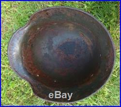 WW2 German Helmet M40/64 with bullet damage. Stahlhelm Original Relic
