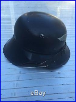 WW2 German Luftschutz Helmet Untouched Original Condition Paint and Decal 98%