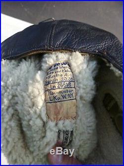 WW2 German Luftwaffe Winter Leather Flight Helmet with Throat Mic LKp. W. 101 57