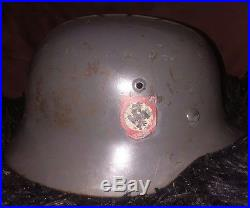 WW2 German M35 Double Decal Field Police Helmet