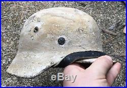 WW2 German M35 M40 Winter White Wash Camouflage Combat Helmet M42