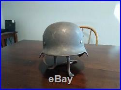 WW2 German M35 helmet with steel band and rough liner original paint LOOK