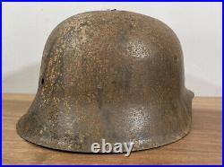 WW2 German M42 Combat Helmet, Ardennes Battlefield Shell