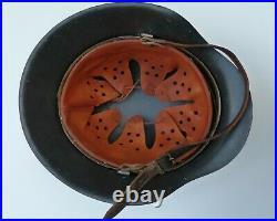 WW2 German M42 Raw Edge Army Heer Helmet Including Zinc & Leather Liner
