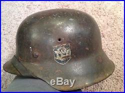 WW2 German M42 double decal police combat helmet