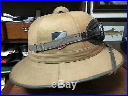 WW2 German Pith Helmet with Goggles Early War 1st Pattern (Canvas)