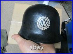 WW2 German Volkswagen Factory Security Police Helmet No Liner