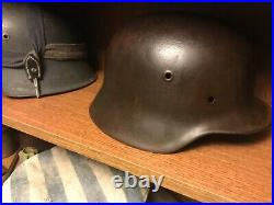 WW2 German helmet M40 ET64 Battle damaged
