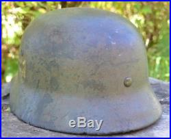 WW2 M35 NS-66 German Camo Combat Helmet Original with liner and decal