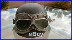 WW2 M42 GERMAN Army HELMET WWII, Authentic, withgoggles