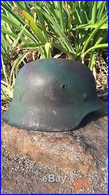 WW2 M42 German Spray Camo Helmet Untouched Original Excellent Condition