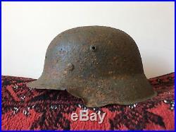 WW2 Original German Helmet M42 // Eastern Front Paint Battle Damaged Wehrmacht