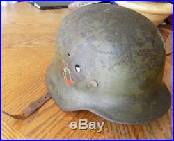 WW2 WWII GERMAN M35 MILITARY HELMET WITH BULLET ENTRY & EXIT HOLE With STRAP