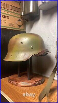 WW2 WWII Normandy Camo German M42 Helmet Size 68 Original Shell. Liner Size 62cm