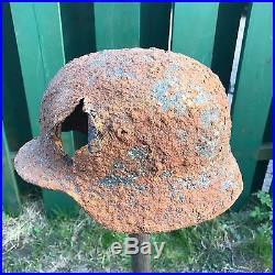 WW2 WWII Original German Helmet M35, Winter Camo, Battle Damage