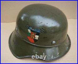 WWII 1936 GERMAN Luftschutz Gladiator helmet used in Bulgaria, 3pcs, rare Decal