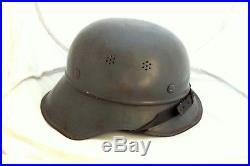 WWII 1936 German Luftschutz Helmet used in Bulgaria Navy Army Military