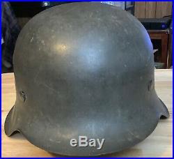 WWII GERMAN ARMY M42 ND STEEL COMBAT HELMET WithLINER & CHINSTRAP ORIGINAL