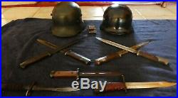 WWII GERMAN HELMETS & 7 bayonets - PRICE DROPPED $150.00 to $850.00