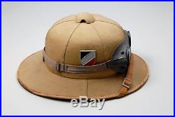 WWII GERMAN LUFTWAFFE AFRIKA KORPS 1st TYPE SUN HELMET withLUFTWAFFE SAND GOGGLES