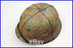 WWII GERMAN M-1940 ARMY BROWN & GREEN ROUGH CAMOUFLAGED HELMET with WIRE