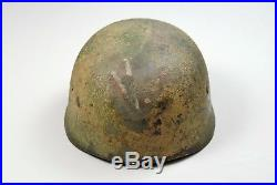 WWII GERMAN M-38 CAMOUFLAGED PARATROOPER HELMET withUNIT INSIGNIA ORIGINAL