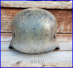 WWII GERMAN M35 NORMANDY CAMO HELMET RE-ISSUED Q62 with 40 LINER DATE