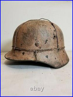 WWII GERMAN M35 Winter 3 Wire camo HELMET With Hand Aged Paint Work and Liner