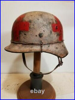 WWII GERMAN M35 Winter Medic HELMET With Hand Aged Paint Work and Liner