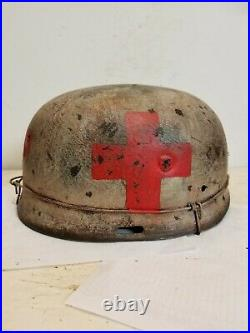 WWII GERMAN M37 Winter Medic Paratrooper HELMET WithHand Aged Paint Work and Liner