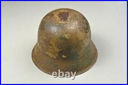 WWII GERMAN M42 CAMOFLAGED ARMY HELMET withLINER & CHINSTRAP