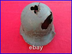 WWII GERMAN M42 HELMET BATTLE DAMAGED Big size