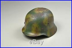 WWII GERMAN MODEL 1935 CAMOUFLAGED HELMET withLINER & CHINSTRAP
