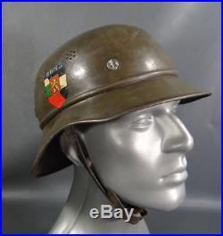 WWII German Army Luftschutz Gladiator Helmet Hat M38 Bulgarian Decal Liner Strap
