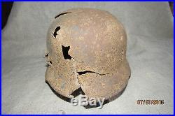 WWII German Battle Damaged M40 Helmet. Battlefield Relic