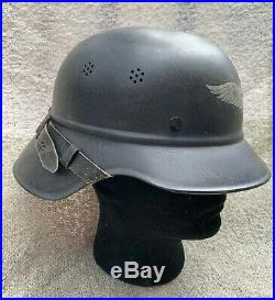 WWII German Luftschutz two piece gladiator helmet complete