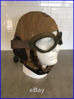 WWII German Luftwaffe LKp-S101 Summer Flight Helmet & Goggles, Sz. 57cm