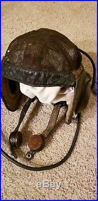 WWII German Luftwaffe Pilot's Summer Flight Helmet, Size 7(approx.)