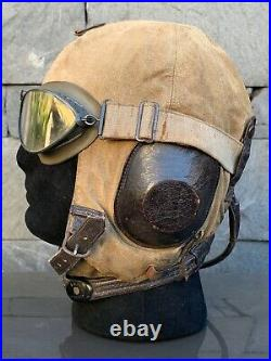 WWII German Luftwaffe flight helmet with goggles and throat mic