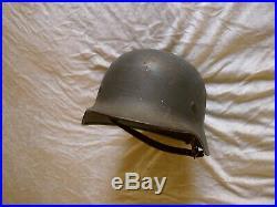WWII German M-40 Helmet EF64 #1248 Vet Bringback Untouched Since WWII, Named KIA