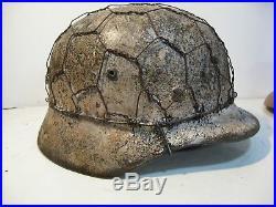 WWII German M35 1/2 Basket Chicken wire Winter Camo Helmet