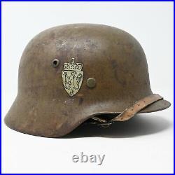 WWII German M35 Helmet Stahlhelm Norwegian Reissue SF64 Double Decal Original