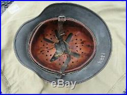 WWII German M35 Helmet with Liner and Chinstrap