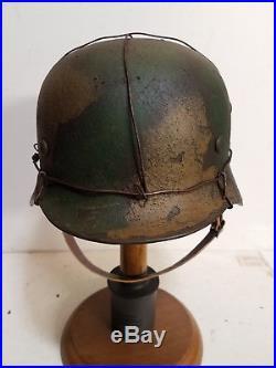 WWII German M35 Normandy 3 Wire camo Helmet