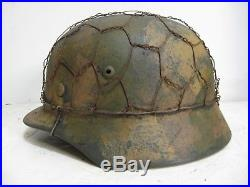 WWII German M35 Normandy Camo Helmet with Half Basket Chickenwire