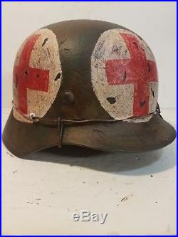 WWII German M35 Normandy Medic Camo pattern Helmet