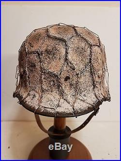 WWII German M35 Normandy Winter Chickenwire Camo Helmet