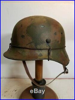 WWII German M35 Normandy aged camo Helmet