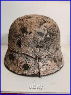 WWII German M35 Winter Camo Helmet